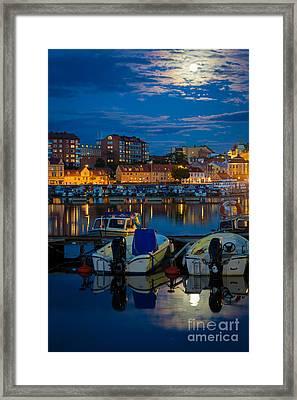 Moonrise In Karlskrona Framed Print by Inge Johnsson
