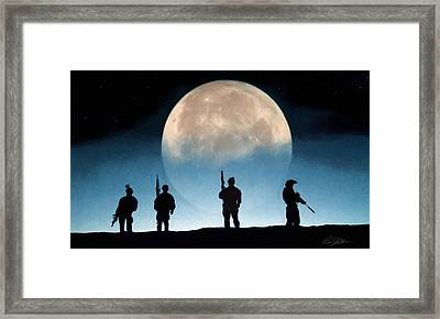 Moonrise Mission Framed Print by Peter Chilelli