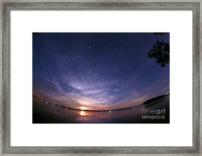 Moonrise Over Rice Lake, Canada Framed Print by John Chumack