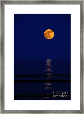 Moonrise Over Water Framed Print by Charline Xia