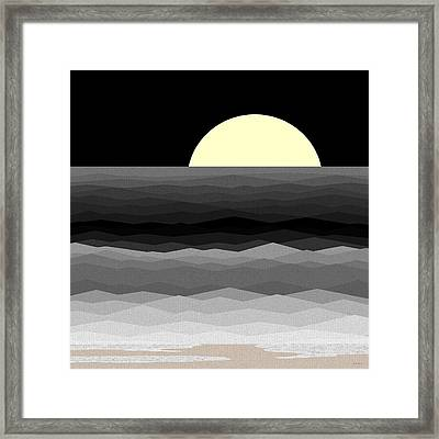 Moonrise Surf Framed Print by Val Arie