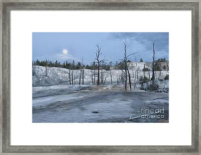 Moonset At Mammoth Terrace-yellowstone Framed Print by Sandra Bronstein