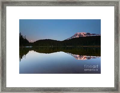 Moonset Over Rainier Framed Print by Mike  Dawson