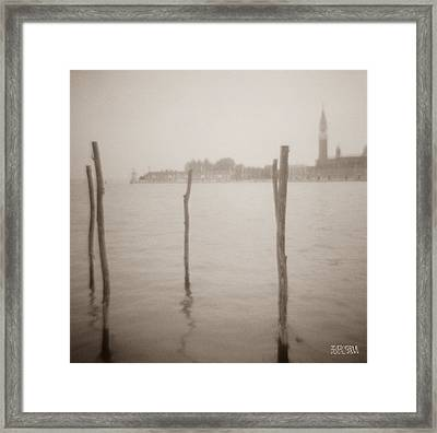 Moorings In Foreground Framed Print by Beverly Brown Prints
