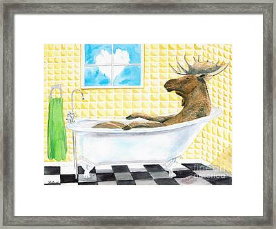 Moose Bath Framed Print by LeAnne Sowa