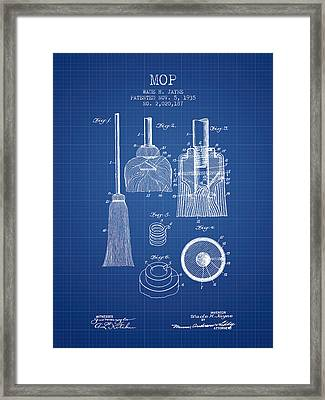 Mop Patent From 1935 - Blueprint Framed Print by Aged Pixel