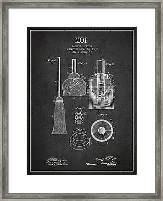 Mop Patent From 1935 - Charcoal Framed Print by Aged Pixel