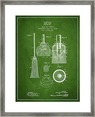 Mop Patent From 1935 - Green Framed Print by Aged Pixel
