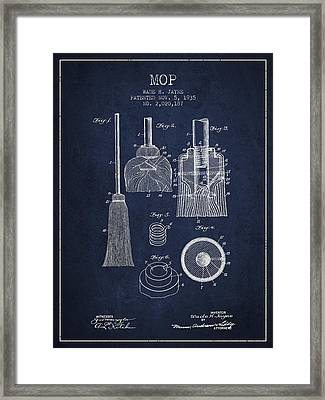 Mop Patent From 1935 - Navy Blue Framed Print by Aged Pixel