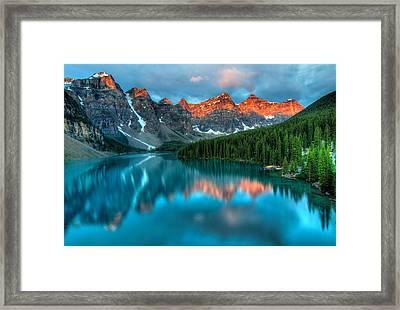 Moraine Lake Sunrise Framed Print by James Wheeler