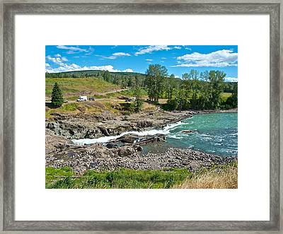Moricetown Falls And Canyon Fishing Operation On The Bulkley River In Moricetown-bc Framed Print by Ruth Hager