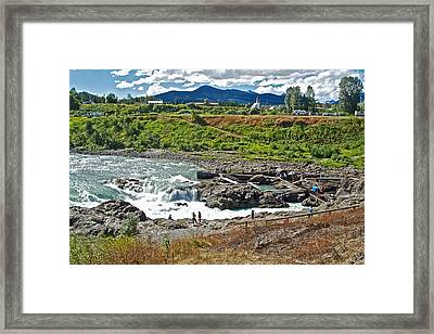 Moricetown Falls And Canyon Fishing Operation On The Bulkley River In Moricetwown-british Columbia  Framed Print by Ruth Hager