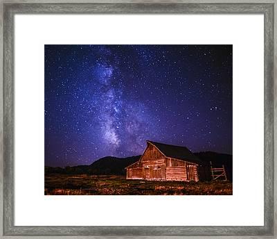 Mormon Barn With Milky Way Framed Print by Vishwanath Bhat