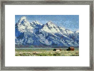 Mormon Row Historic District Grand Tetons Framed Print by Dan Sproul
