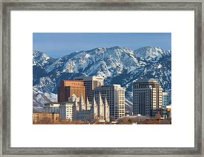 Mormon Tabernacle And Buildings Of Salt Framed Print by Brian Jannsen