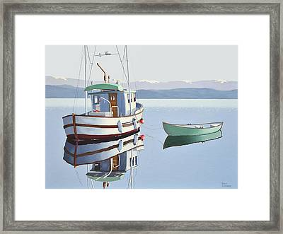 Morning Calm-fishing Boat With Skiff Framed Print by Gary Giacomelli