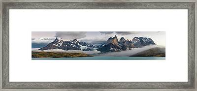 Morning Clouds Over The Paine Grande L Framed Print by Panoramic Images