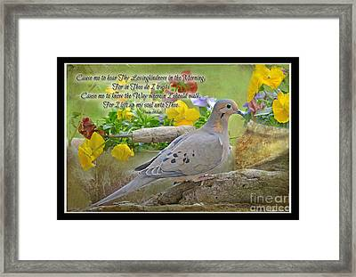 Morning Dove With Verse Framed Print by Debbie Portwood
