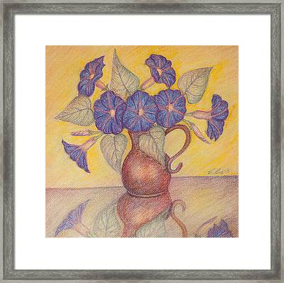 Morning Glories With Yellow Background Framed Print by Claudia Cox