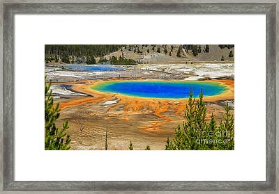 Grand Prismatic Geyser Yellowstone National Park Framed Print by Edward Fielding