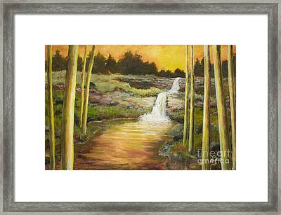 Morning Glow By Vic Mastis With Oil And Gold Leaf Framed Print by Vic  Mastis