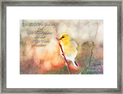 Morning Goldfinch - Digital Paint And Verse Framed Print by Debbie Portwood