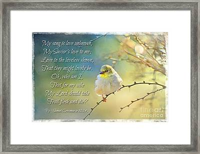 Morning Goldfinch With Verse I Framed Print by Debbie Portwood