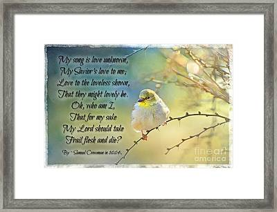 Morning Goldfinch With Verse II Framed Print by Debbie Portwood