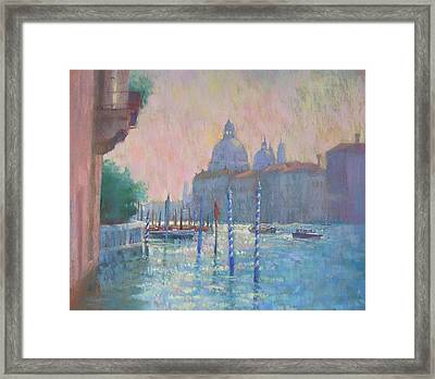 Morning Light From The Academia Bridge Framed Print by Jackie Simmonds