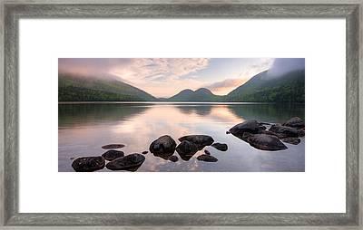 Morning Mist On Jordan Pond, Acadia Framed Print by Panoramic Images