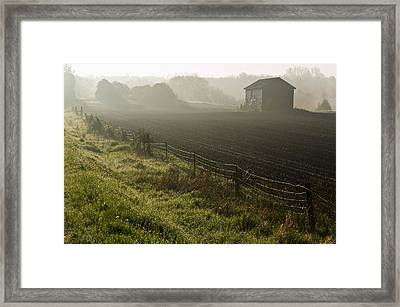 Morning Mist Over Field And Framed Print by Jim Craigmyle