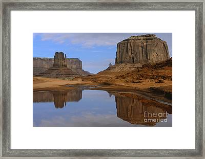 Morning Reflections In Monument Valley Framed Print by Sandra Bronstein
