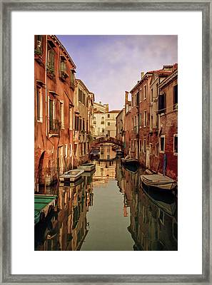 Morning Reflections Of Venice Framed Print by Cliff Wassmann