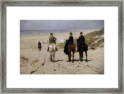 Morning Ride Along The Beach Framed Print by Anton Mauve