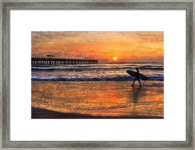 Morning Surf Framed Print by Debra and Dave Vanderlaan