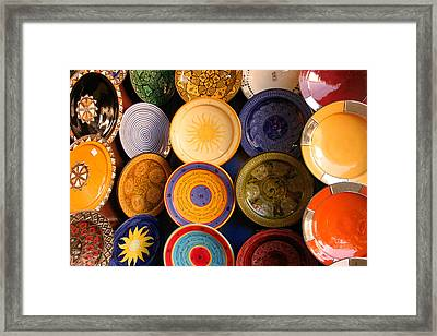 Moroccan Pottery On Display For Sale Framed Print by Ralph A  Ledergerber-Photography