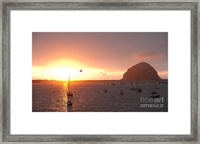Morro Bay Rock At Sunset Framed Print by Artist and Photographer Laura Wrede