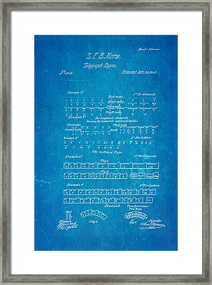 Morse Code Patent Art 1840 Blueprint Framed Print by Ian Monk