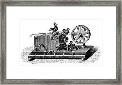 Morse Telegraph Receiver Framed Print by Science Photo Library