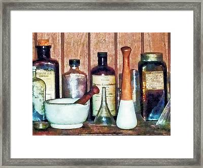 Mortar And Pestle And Pestle Framed Print by Susan Savad