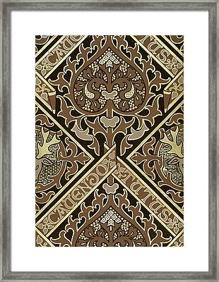 Mosaic Ecclesiastical Wallpaper Design Framed Print by Augustus Welby Pugin