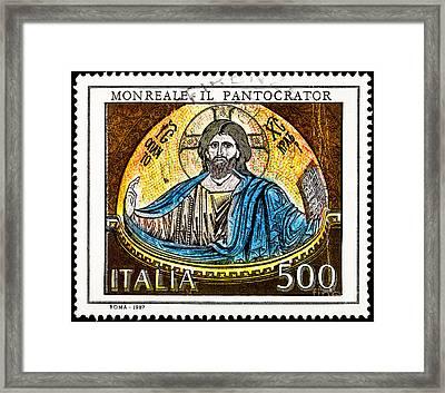 Mosaic Of Jesus  Framed Print by Jim Pruitt
