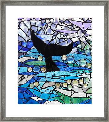 Mosaic Stained Glass - Whale Tail Framed Print by Catherine Van Der Woerd