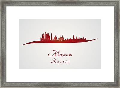 Moscow Skyline In Red Framed Print by Pablo Romero