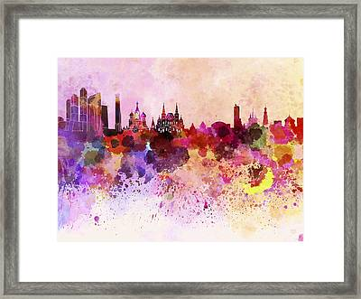 Moscow Skyline In Watercolor Background Framed Print by Pablo Romero