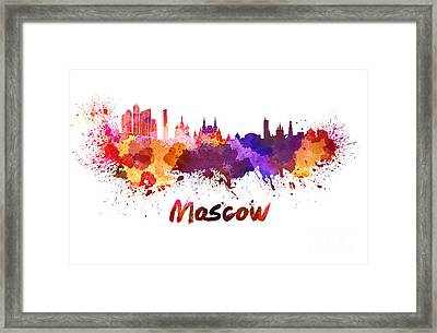 Moscow Skyline In Watercolor Framed Print by Pablo Romero