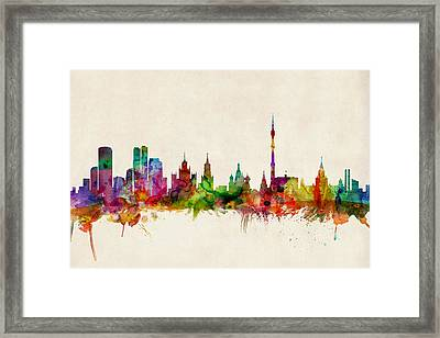 Moscow Skyline Framed Print by Michael Tompsett