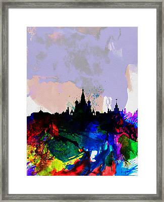Moscow Watercolor Skyline Framed Print by Naxart Studio
