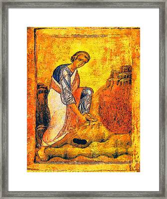 Moses And The Burning Bush Framed Print by George Rossidis