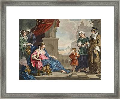 Moses Brought To Pharoahs Daughter Framed Print by William Hogarth